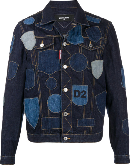 Dsquared2 Blue Dneim Patchwork Trucket Jacket