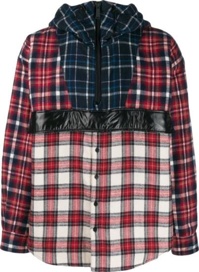 Dsquared2 Check Patchwork Hooded Shirt