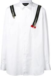 Dsquared2 Zipper Embellished White Shirt