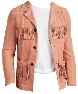 Edios Pink Suede Fringed Jacket