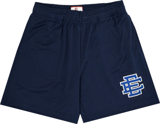 Eric Emanuel Navy And Royal Blue Ee Logo Basic Mesh Shorts