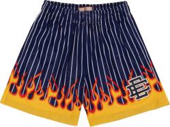 Navy Pinstripe Flame Print Shorts