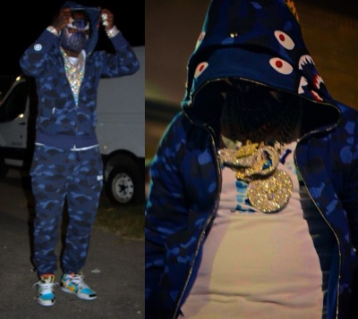 Est Gee Wearing A Bape Hoodie Tee And Joggers With Nike X Ben And Jerrys Sneakers