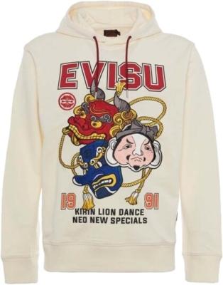 Evisu Lion Dance Print White Hoodie