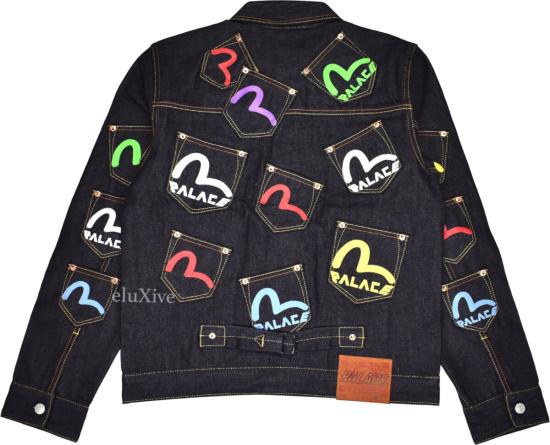 Evisu Palace Denim Jacket Allover Pockets