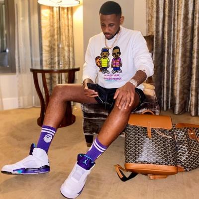 Fabolous Wearing A Bape X Fresh Print Sweatshirt With Purple Bape Socks And Joran 5 Fresh Prince Sneakers