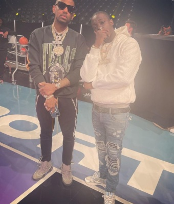 Fabolous Wearing A Rhude Sweatshirt With Rhude Trackpants And Yeezy Sneakers