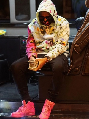 Fabolous Wearing An Off White Face Mask With A Louis Vuitton Hoodie And Nike X Ambush Sneakers