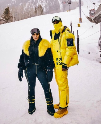 Fabolous Wearing An Off Whtie Ski Puffer Jacket With Ski Bib And Timberland Boots