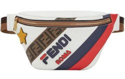 Famous Dex White Fendi Belt Bag With Blue And White Stripes