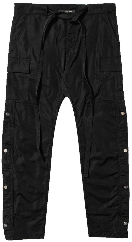 Fear Of God Black Cargo Pants With Side Snaps