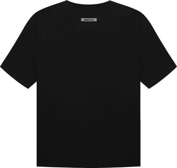 Fear Of God Black Essentials Rubber Logo T Shirt
