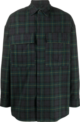 Fear Of God Blue And Green Tartan Oversized Check Shirt