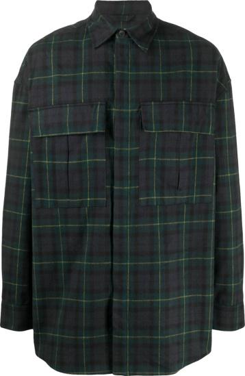 Fear Of God Blue And Green Tartan Oversized Check Shirt