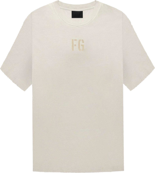 Fear Of God Ivory And Beige Felted Logo T Shirt