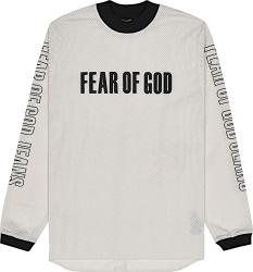 Fear Of God Ivory Mesh And Black Logo Motocross Jersey