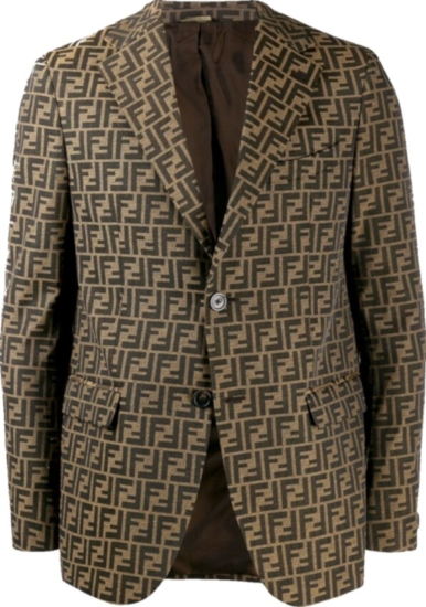 Fendi Allover Monogram Print Brown Blazer