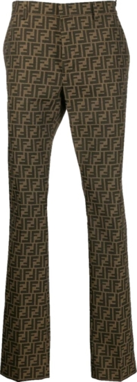 Fendi Allover Monogram Print Brown Pants