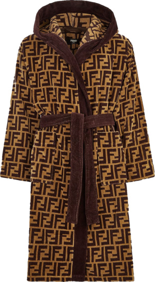 Fendi Beige And Brown Ff Bath Robe
