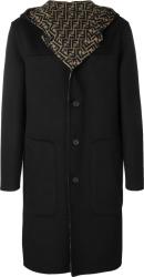 Fendi Black And Brown Ff Hooded Wool Coat