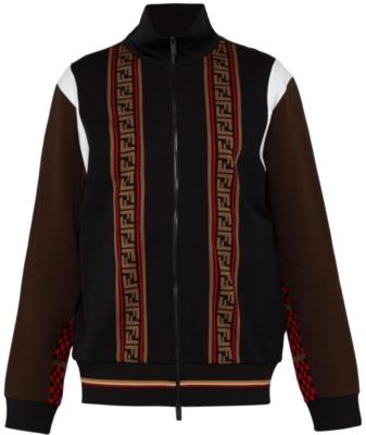 Fendi Black And Brown Logo Stripe Track Jacket