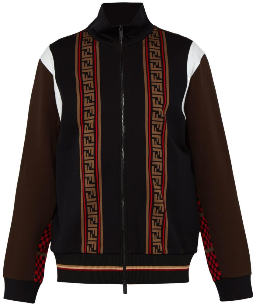 Fendi Black And Brown Logo Stripe Track Jacket