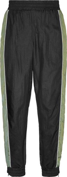 Fendi Black And Green Panel Nylon Trackpants
