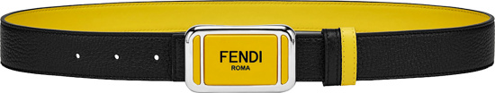Fendi Black And Yellow Plaque Buckle Belt 7c0446acgxf17bj