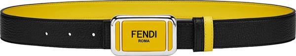 Fendi Black And Yellow Plaque Buckle Belt 7c0446acgxf17bj