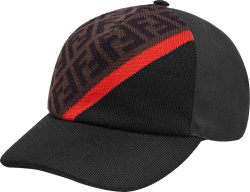 Fendi Black Brown Ff And Red Stipe Hat