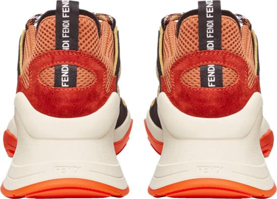 Fendi Black Orang Whtie Sneakers Back
