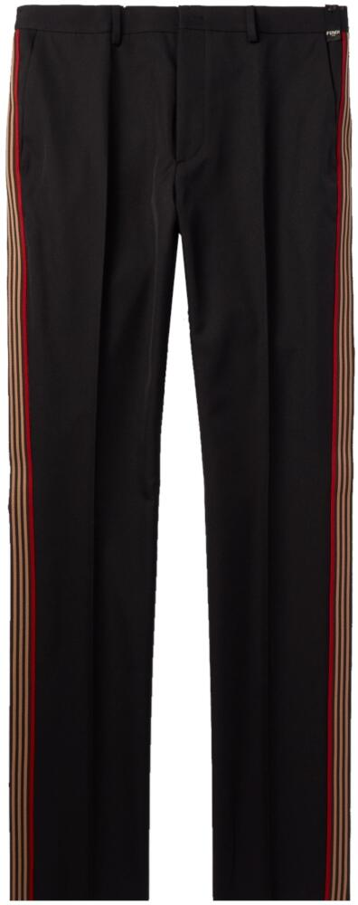 Fendi Black Pants With Gold And Red Side Stripes