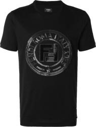 Fendi Black Sequin Logo T Shirt