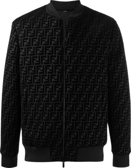 Fendi Black Velvet Ff Monogram Bomber Jacket
