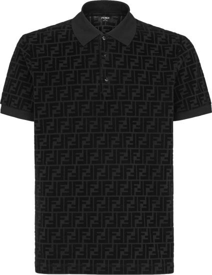 Fendi Black Velvet Ff Polo