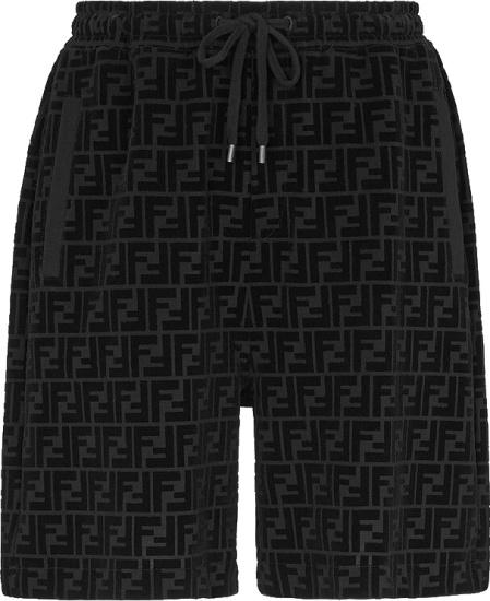 Fendi Black Velvet Ff Shorts