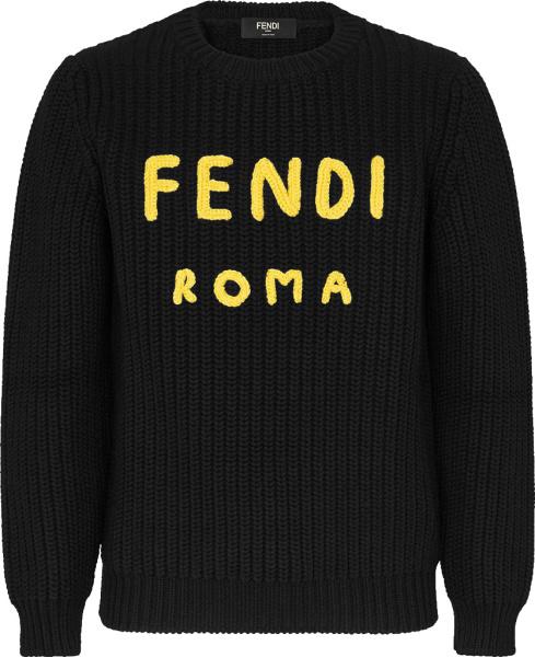 Fendi Black Yellow Fendi Roma Sweater Fzz373aea1f0qa1