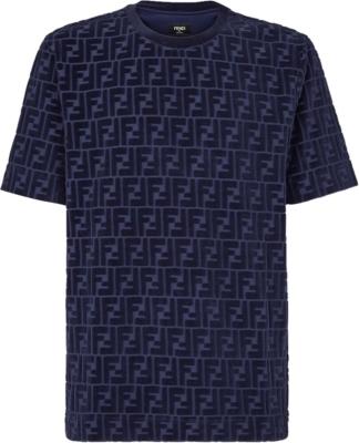 Fendi Blue Ff Velvet T Shirt