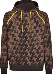 Fendi Brown Ff And Yellow Trim Hoodie