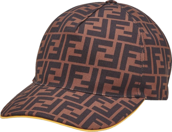 Fendi Brown Ff Monogram And Yellow Trim Canvas Baseball Hat