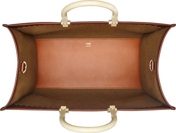 Fendi Brown Leather Sunshine Tote Bag