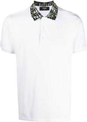Fendi Ff Logo Collar White Polo Shirt