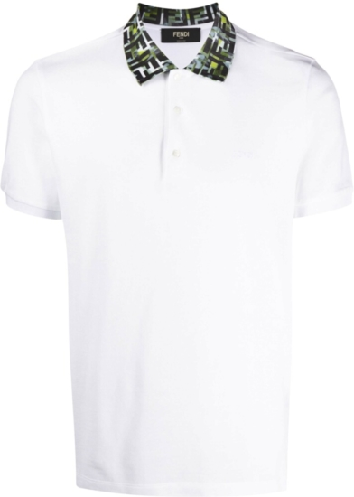 Fendi Ff Logo Collar White Polo Shirt