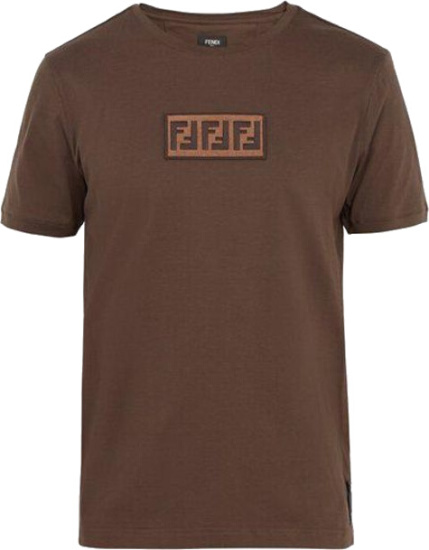 Fendi Ff Logo Patch Brown T Shirt