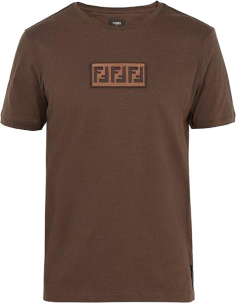 Fendi Ff Logo Patch Brown T Shirt