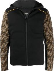 Fendi Ff Sleeve Print Black Padded Jacket