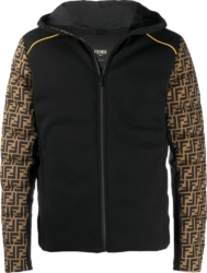 Fendi Ff Sleeve Print Black Padded Jacket
