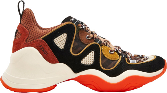 Fendi Ffluid Orange Sole Sneakers