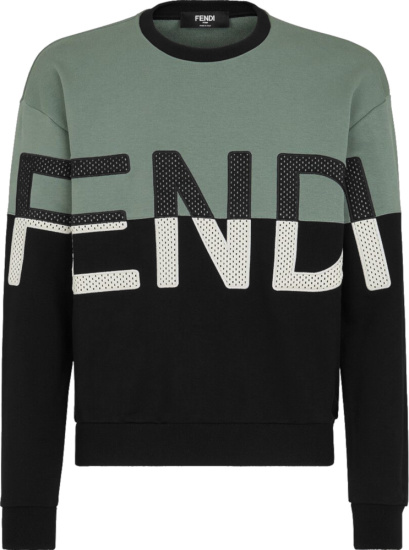 Fendi Green And Black Split Logo Print Sweatshirt