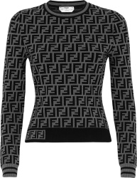 Fendi Grey And Black Ff Monogram Sweater